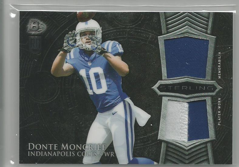 2014 Bowman Sterling Football Dual Relic Donte Moncrief Indianapolis Colts  2 color patch ,Jersey